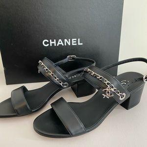 Authentic Chanel open toe heels